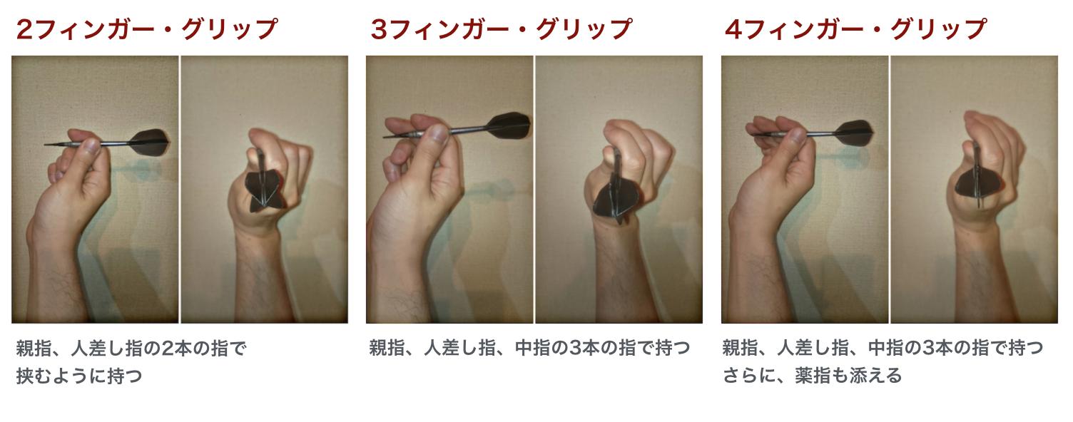 ダーツ持ち方3種類の画像